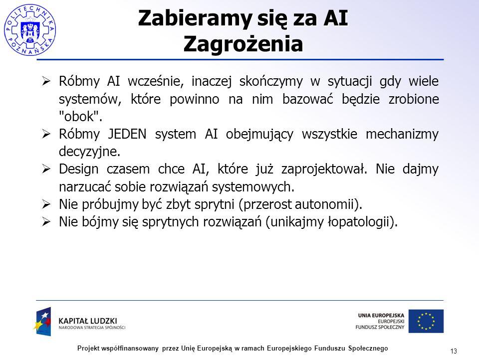 13 Projekt współfinansowany przez Unię Europejską w ramach Europejskiego Funduszu Społecznego Zabieramy się za AI Zagrożenia Róbmy AI wcześnie, inacze