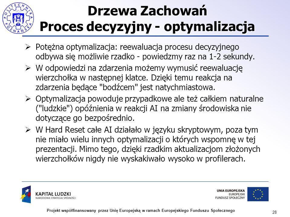 28 Projekt współfinansowany przez Unię Europejską w ramach Europejskiego Funduszu Społecznego Drzewa Zachowań Proces decyzyjny - optymalizacja Potężna
