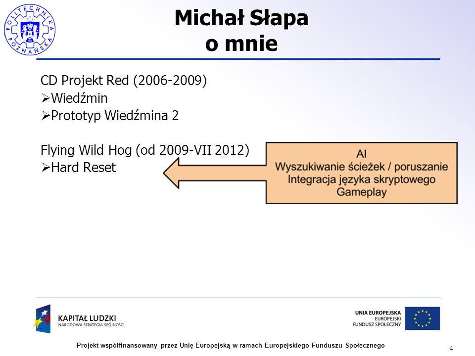 4 Projekt współfinansowany przez Unię Europejską w ramach Europejskiego Funduszu Społecznego Michał Słapa o mnie CD Projekt Red (2006-2009) Wiedźmin P