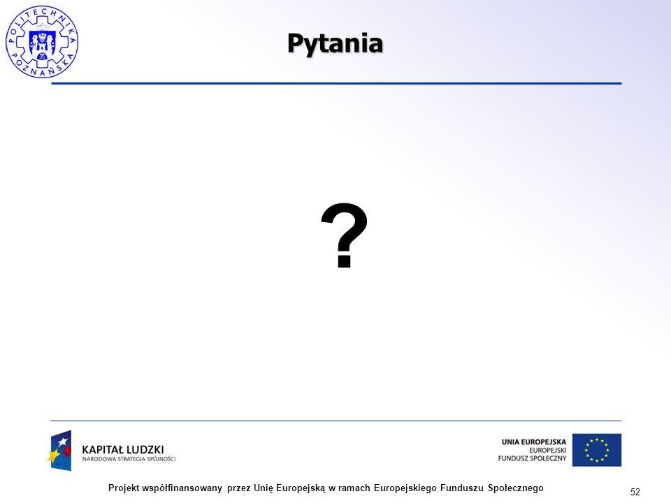 52 Projekt współfinansowany przez Unię Europejską w ramach Europejskiego Funduszu SpołecznegoPytania ?