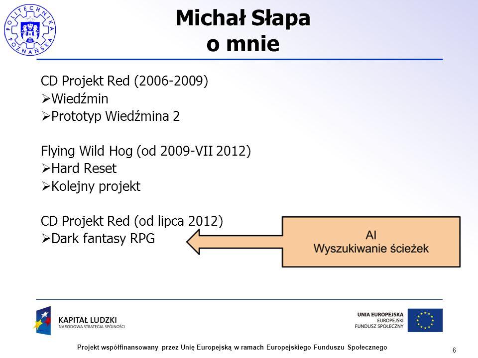 6 Projekt współfinansowany przez Unię Europejską w ramach Europejskiego Funduszu Społecznego Michał Słapa o mnie CD Projekt Red (2006-2009) Wiedźmin P