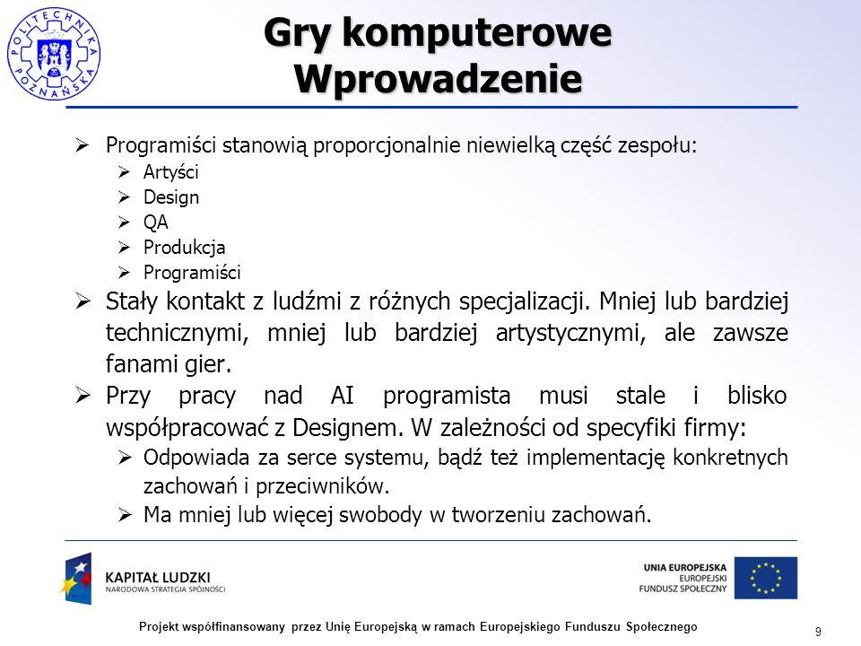9 Projekt współfinansowany przez Unię Europejską w ramach Europejskiego Funduszu Społecznego Gry komputerowe Wprowadzenie Programiści stanowią proporc