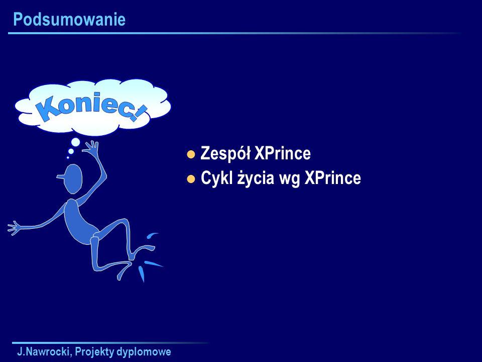 J.Nawrocki, Projekty dyplomowe Podsumowanie Zespół XPrince Cykl życia wg XPrince