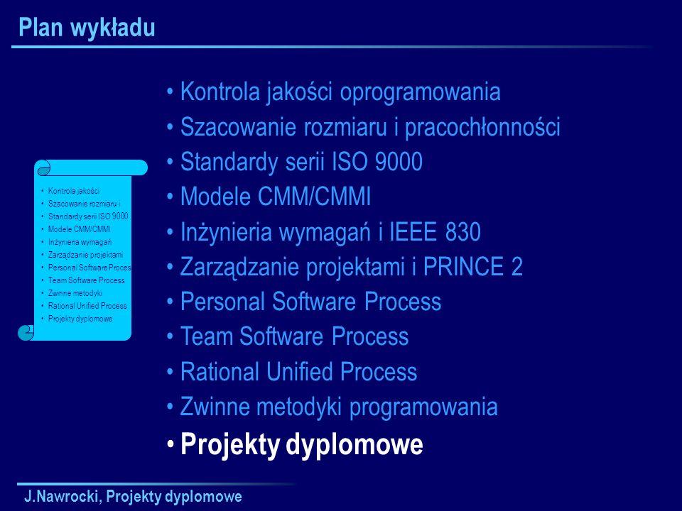 J.Nawrocki, Projekty dyplomowe Plan wykładu Kontrola jakości oprogramowania Szacowanie rozmiaru i pracochłonności Standardy serii ISO 9000 Modele CMM/