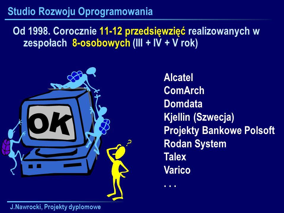 J.Nawrocki, Projekty dyplomowe Studio Rozwoju Oprogramowania Od 1998. Corocznie 11-12 przedsięwzięć realizowanych w zespołach 8-osobowych (III + IV +