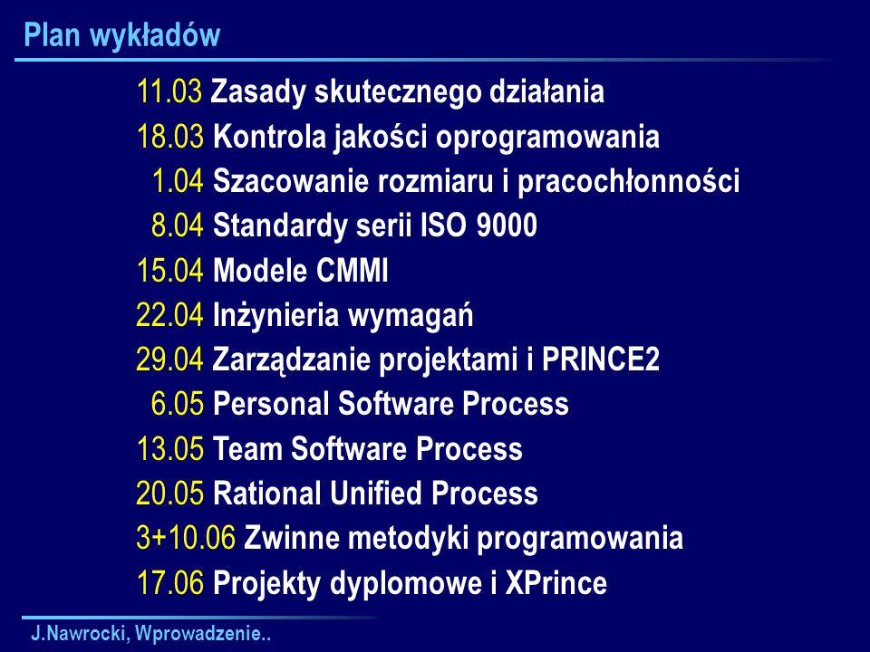 J.Nawrocki, Wprowadzenie.. Plan wykładów 11.03 Zasady skutecznego działania 18.03 Kontrola jakości oprogramowania 1.04 Szacowanie rozmiaru i pracochło