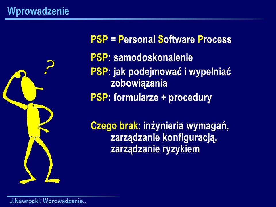 J.Nawrocki, Wprowadzenie.. Wprowadzenie PSP = Personal Software Process PSP: samodoskonalenie PSP: jak podejmować i wypełniać zobowiązania PSP: formul