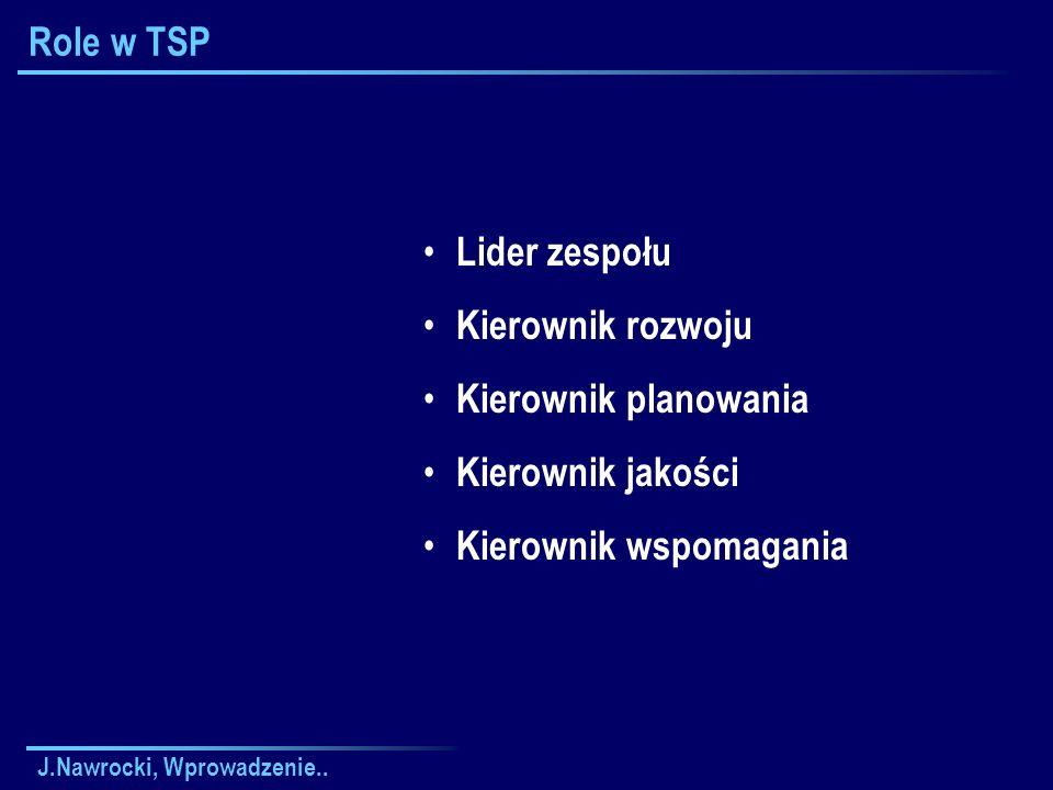 J.Nawrocki, Wprowadzenie.. Role w TSP Lider zespołu Kierownik rozwoju Kierownik planowania Kierownik jakości Kierownik wspomagania