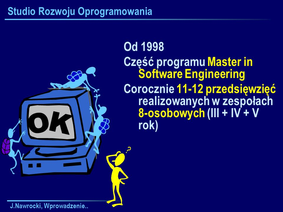 J.Nawrocki, Wprowadzenie.. Studio Rozwoju Oprogramowania Od 1998 Część programu Master in Software Engineering Corocznie 11-12 przedsięwzięć realizowa