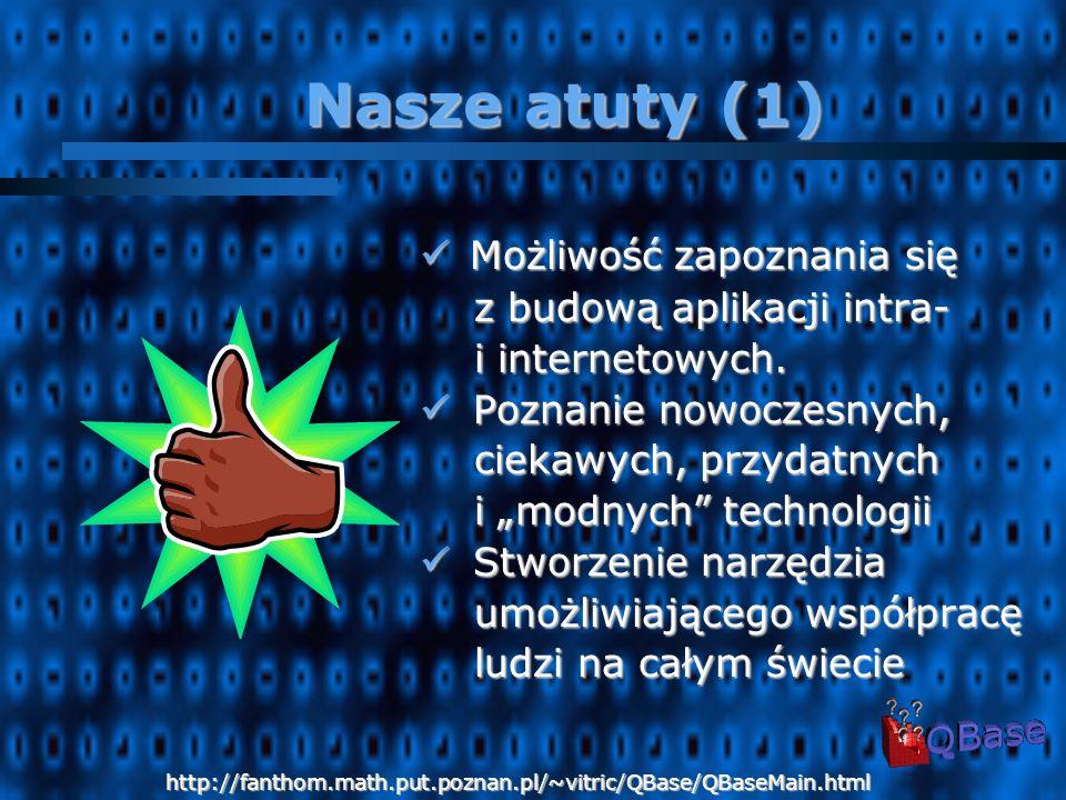 Technologie język Java język Java serwlety Javy serwlety Javy JSP JSP HTML HTML XML XML JavaScript JavaScript http://fanthom.math.put.poznan.pl/~vitric/QBase/QBaseMain.html