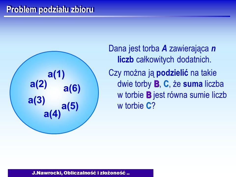J.Nawrocki, Obliczalność i złożoność.. Problem podziału zbioru a(2) a(3) a(1) a(6) a(5) a(4)