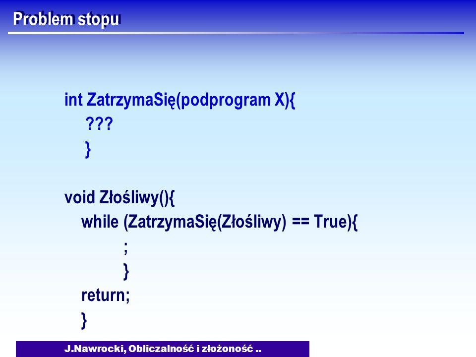 J.Nawrocki, Obliczalność i złożoność.. Problem stopu int ZatrzymaSię(podprogram X){ ??? } void Złośliwy(){ while (ZatrzymaSię(Złośliwy) == True){ ; }