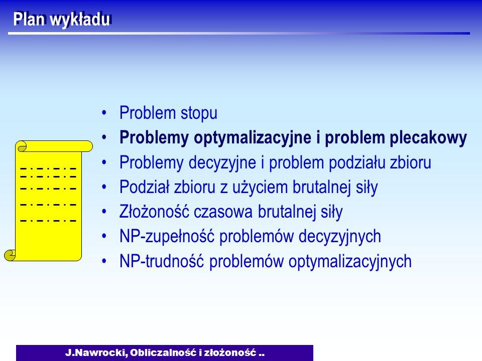 J.Nawrocki, Obliczalność i złożoność.. Plan wykładu Problem stopu Problemy optymalizacyjne i problem plecakowy Problemy decyzyjne i problem podziału z