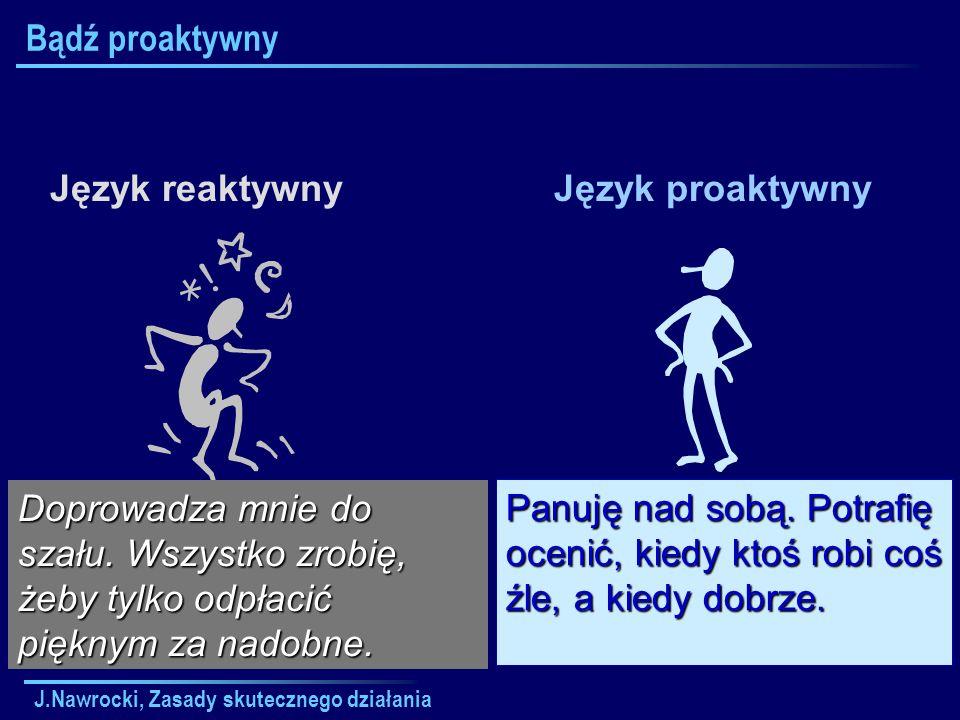 J.Nawrocki, Zasady skutecznego działania Bądź proaktywny Język reaktywnyJęzyk proaktywny Doprowadza mnie do szału. Wszystko zrobię, żeby tylko odpłaci
