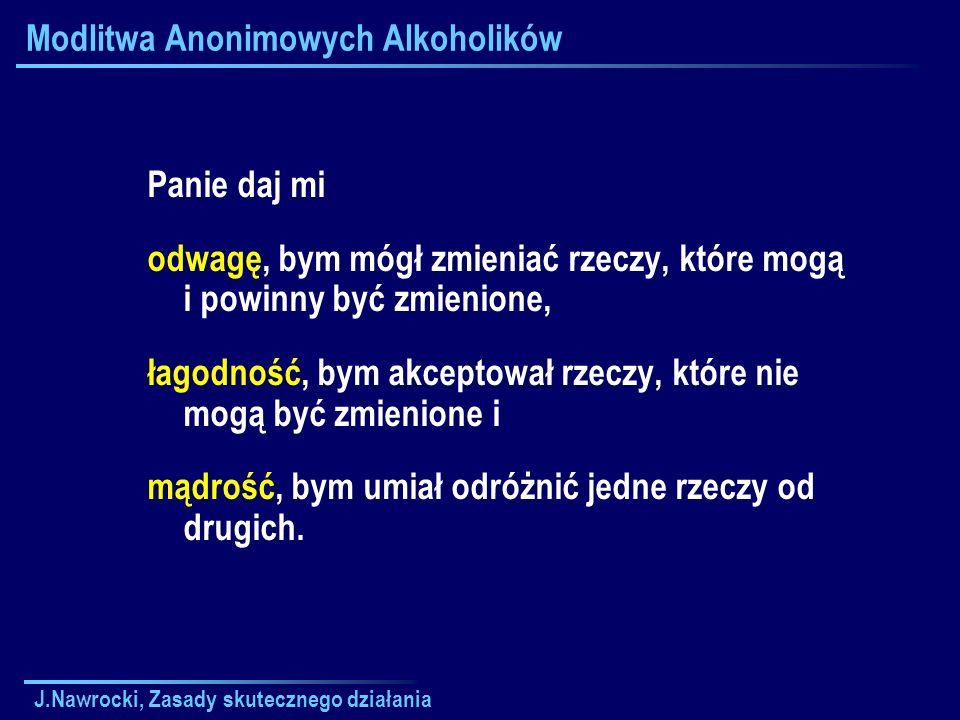 J.Nawrocki, Zasady skutecznego działania Modlitwa Anonimowych Alkoholików Panie daj mi odwagę, bym mógł zmieniać rzeczy, które mogą i powinny być zmie