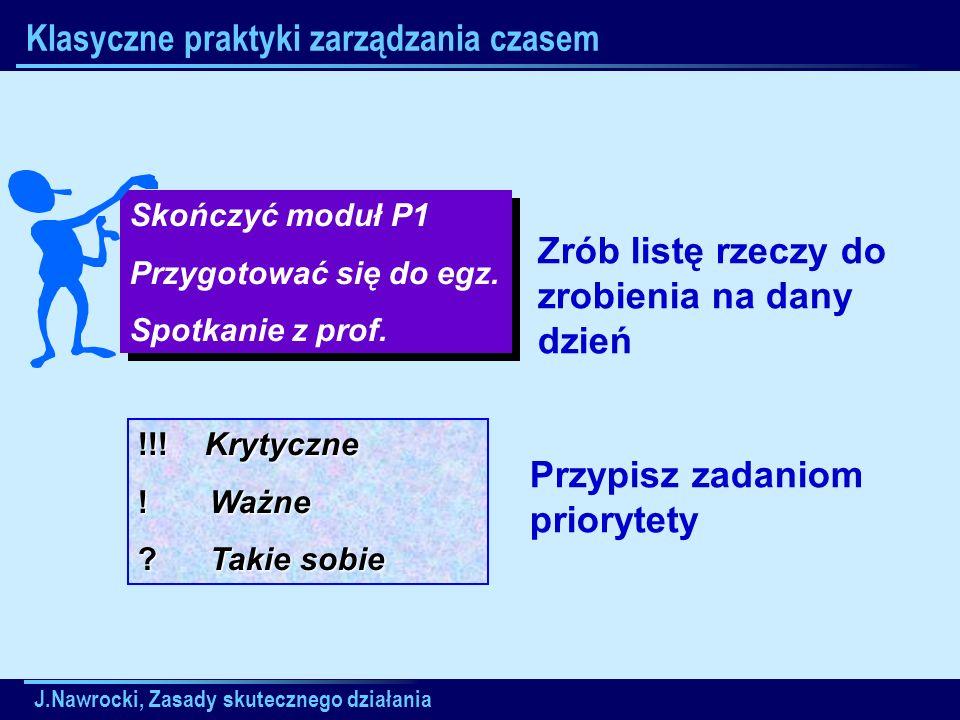 J.Nawrocki, Zasady skutecznego działania Skończyć moduł P1 Przygotować się do egz. Spotkanie z prof. Skończyć moduł P1 Przygotować się do egz. Spotkan