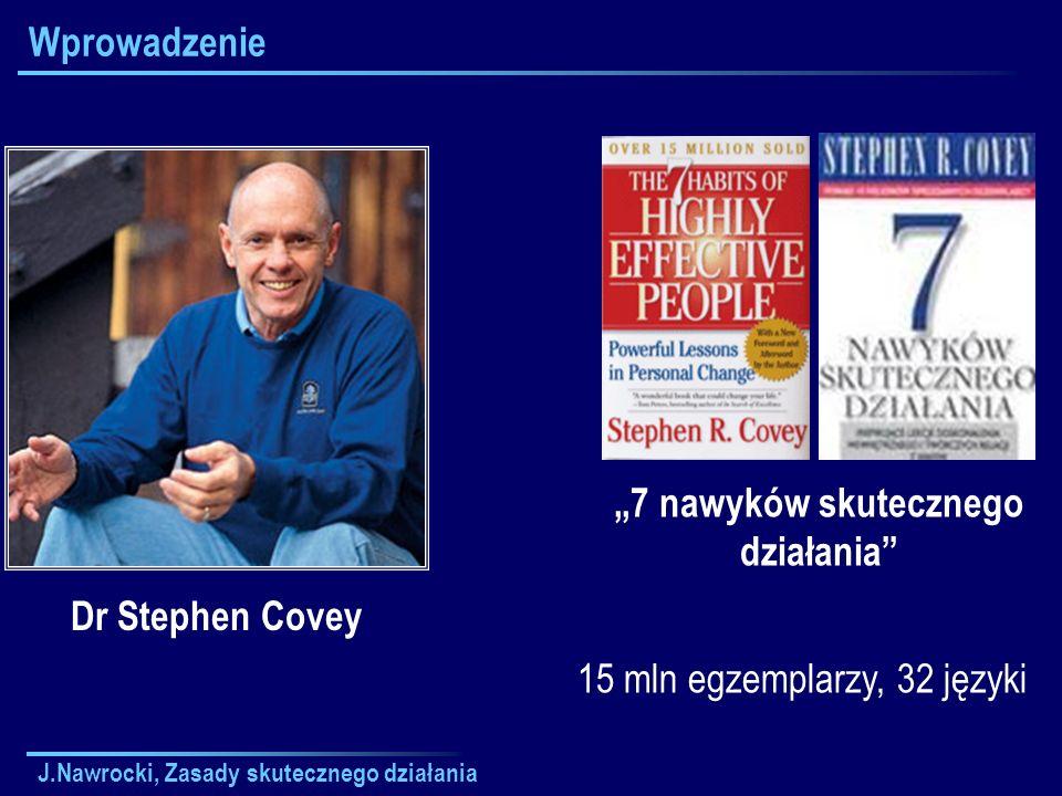 J.Nawrocki, Zasady skutecznego działania Wprowadzenie Dr Stephen Covey 7 nawyków skutecznego działania 15 mln egzemplarzy, 32 języki