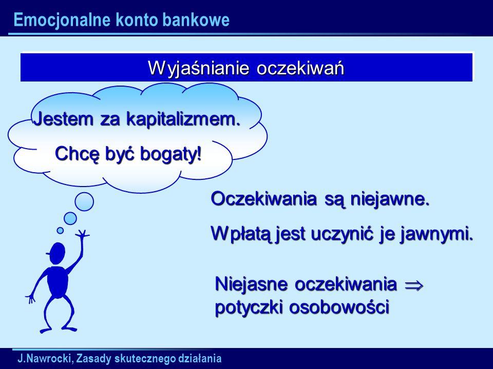 J.Nawrocki, Zasady skutecznego działania Emocjonalne konto bankowe Wyjaśnianie oczekiwań Jestem za kapitalizmem. Jestem za kapitalizmem. Chcę być boga