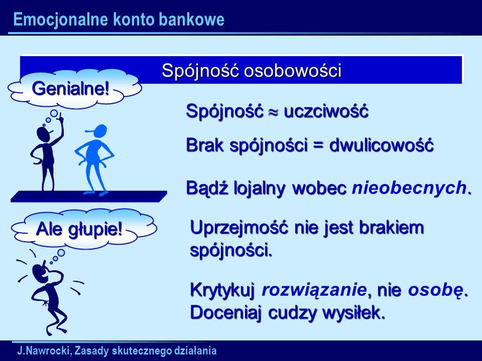 J.Nawrocki, Zasady skutecznego działania Emocjonalne konto bankowe Spójność osobowości Spójność osobowości Genialne! Ale głupie! Spójność uczciwość Br