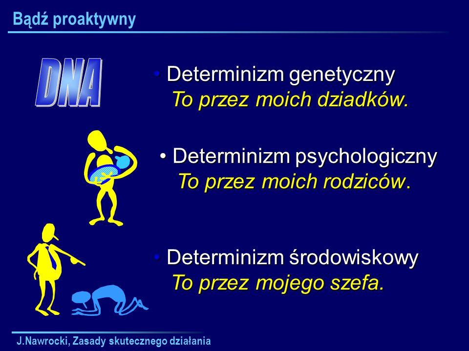 J.Nawrocki, Zasady skutecznego działania Zasady skutecznego działania - Plan wykładu Bądź proaktywny Zaczynaj mając koniec na względzie Aby rzeczy pierwsze były pierwsze Myśl o obopólnej korzyści Najpierw staraj się zrozumieć Dbaj o synergię