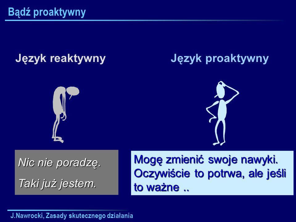 J.Nawrocki, Zasady skutecznego działania Bądź proaktywny Język reaktywnyJęzyk proaktywny Nic nie poradzę. Taki już jestem. Mogę zmienić swoje nawyki.