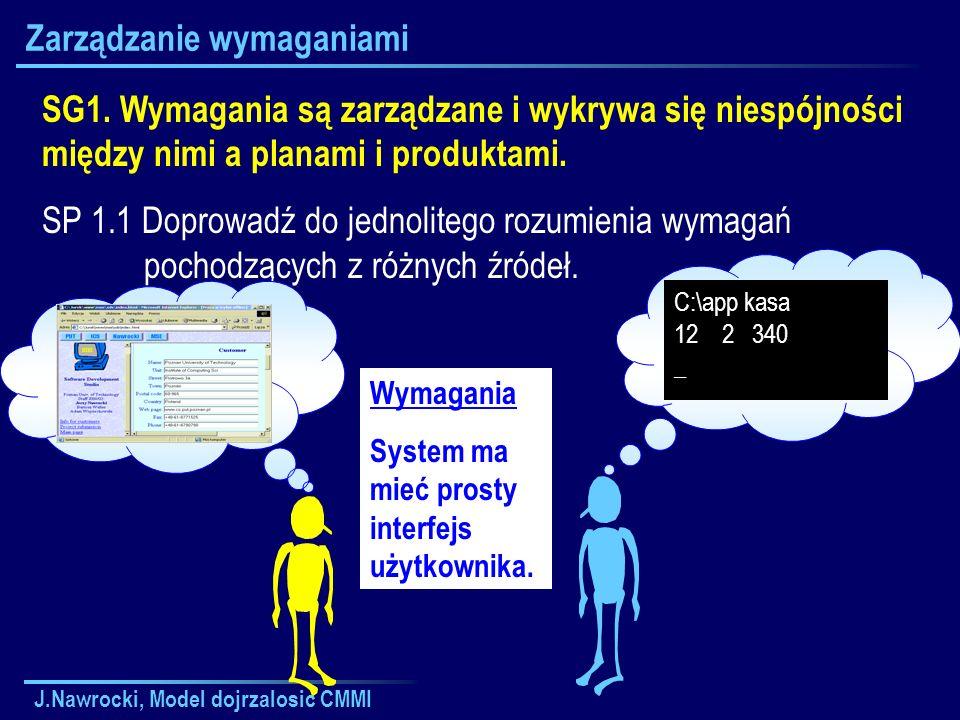 J.Nawrocki, Model dojrzalosic CMMI Zarządzanie wymaganiami SG1. Wymagania są zarządzane i wykrywa się niespójności między nimi a planami i produktami.