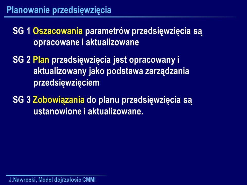 J.Nawrocki, Model dojrzalosic CMMI Planowanie przedsięwzięcia SG 1 Oszacowania parametrów przedsięwzięcia są opracowane i aktualizowane SG 2 Plan prze