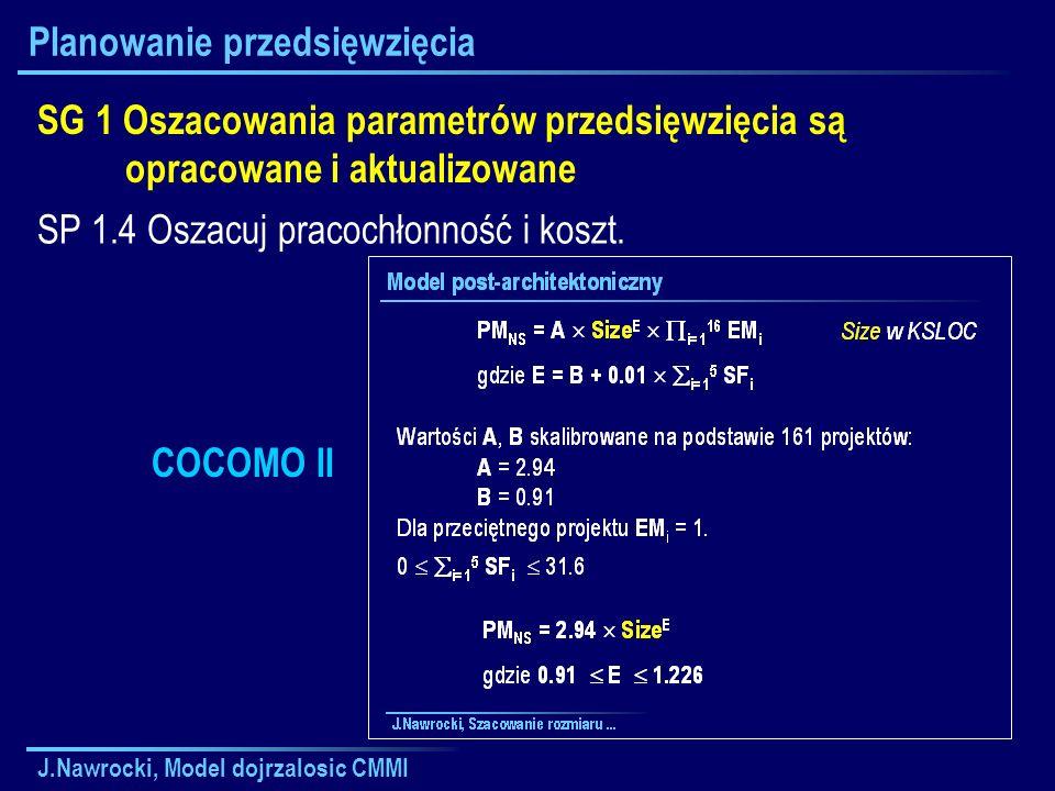 J.Nawrocki, Model dojrzalosic CMMI Planowanie przedsięwzięcia SG 1 Oszacowania parametrów przedsięwzięcia są opracowane i aktualizowane SP 1.4 Oszacuj