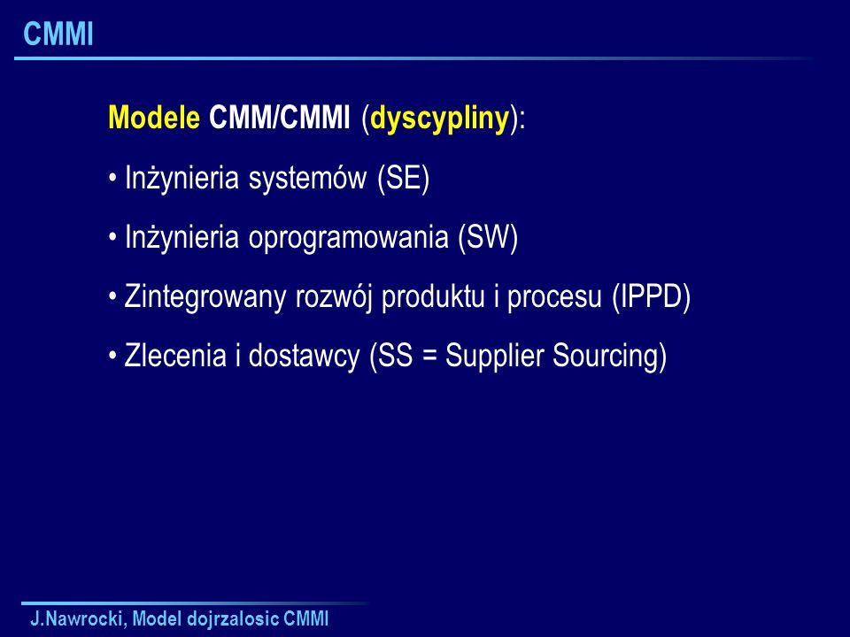 J.Nawrocki, Model dojrzalosic CMMI CMMI Modele CMM/CMMI ( dyscypliny ): Inżynieria systemów (SE) Inżynieria oprogramowania (SW) Zintegrowany rozwój pr