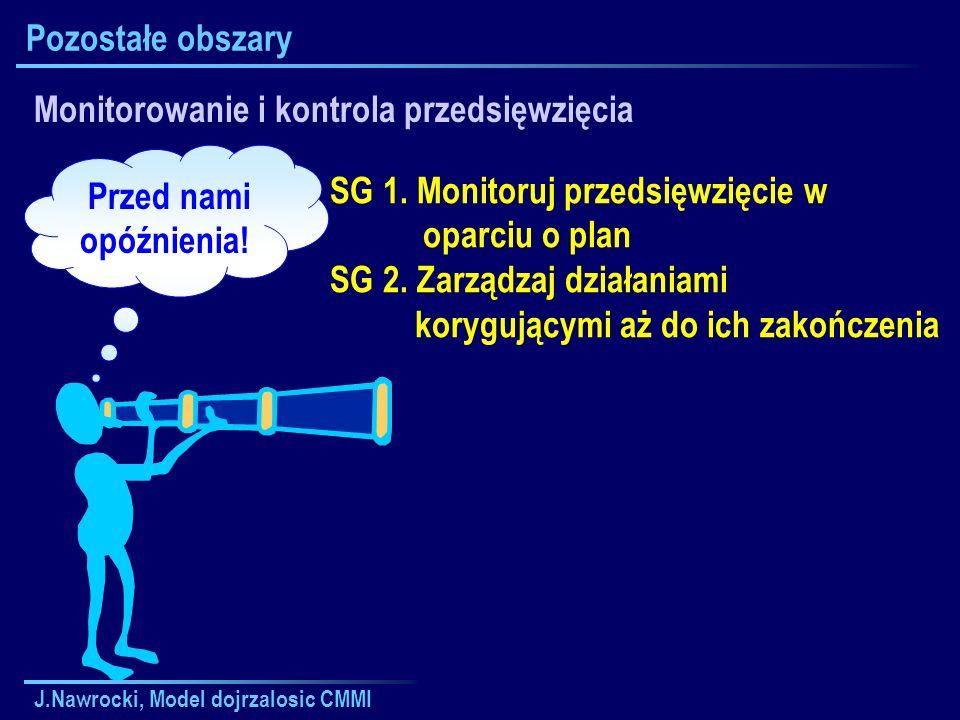 J.Nawrocki, Model dojrzalosic CMMI Pozostałe obszary Monitorowanie i kontrola przedsięwzięcia SG 1. Monitoruj przedsięwzięcie w oparciu o plan SG 2. Z
