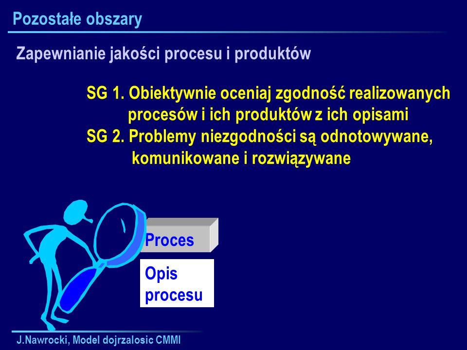 J.Nawrocki, Model dojrzalosic CMMI Pozostałe obszary Zapewnianie jakości procesu i produktów SG 1. Obiektywnie oceniaj zgodność realizowanych procesów