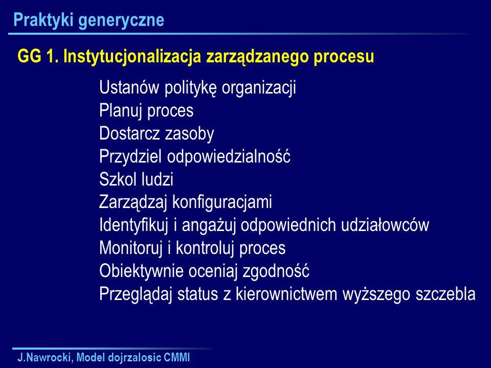 J.Nawrocki, Model dojrzalosic CMMI Praktyki generyczne GG 1. Instytucjonalizacja zarządzanego procesu Ustanów politykę organizacji Planuj proces Dosta