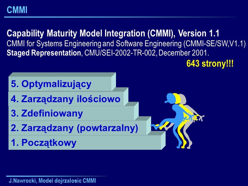 J.Nawrocki, Model dojrzalosic CMMI CMMI 1. Początkowy 2. Zarządzany (powtarzalny) 3. Zdefiniowany 4. Zarządzany ilościowo 5. Optymalizujący Capability