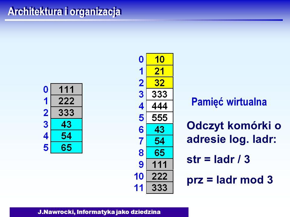 J.Nawrocki, Informatyka jako dziedzina Architektura i organizacja Pamięć wirtualna Odczyt komórki o adresie log. ladr: str = ladr / 3 prz = ladr mod 3