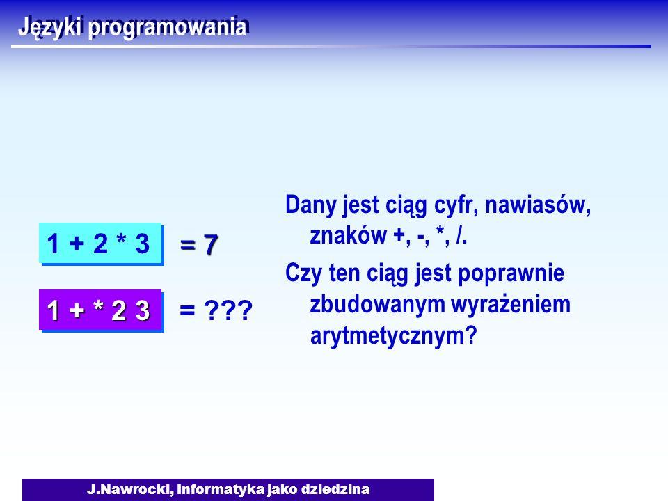 J.Nawrocki, Informatyka jako dziedzina Języki programowania Dany jest ciąg cyfr, nawiasów, znaków +, -, *, /. Czy ten ciąg jest poprawnie zbudowanym w