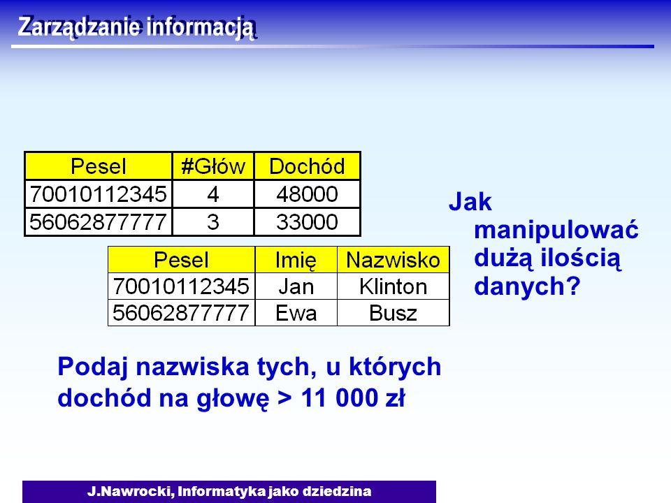 J.Nawrocki, Informatyka jako dziedzina Zarządzanie informacją Jak manipulować dużą ilością danych? Podaj nazwiska tych, u których dochód na głowę > 11