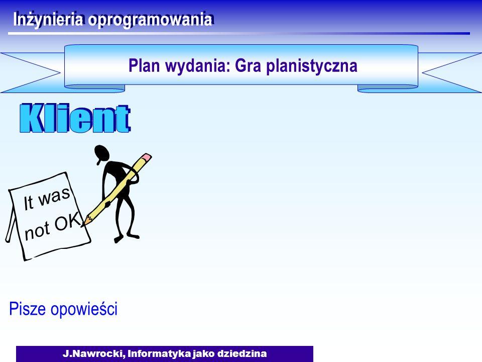 J.Nawrocki, Informatyka jako dziedzina Inżynieria oprogramowania Plan wydania: Gra planistyczna Pisze opowieści It was not OK.