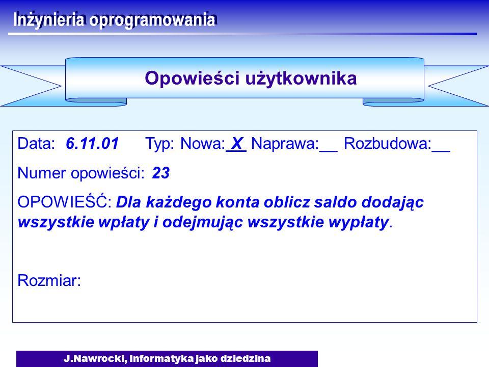 J.Nawrocki, Informatyka jako dziedzina Inżynieria oprogramowania Data: 6.11.01 Typ: Nowa: X Naprawa:__ Rozbudowa:__ Numer opowieści: 23 OPOWIEŚĆ: Dla