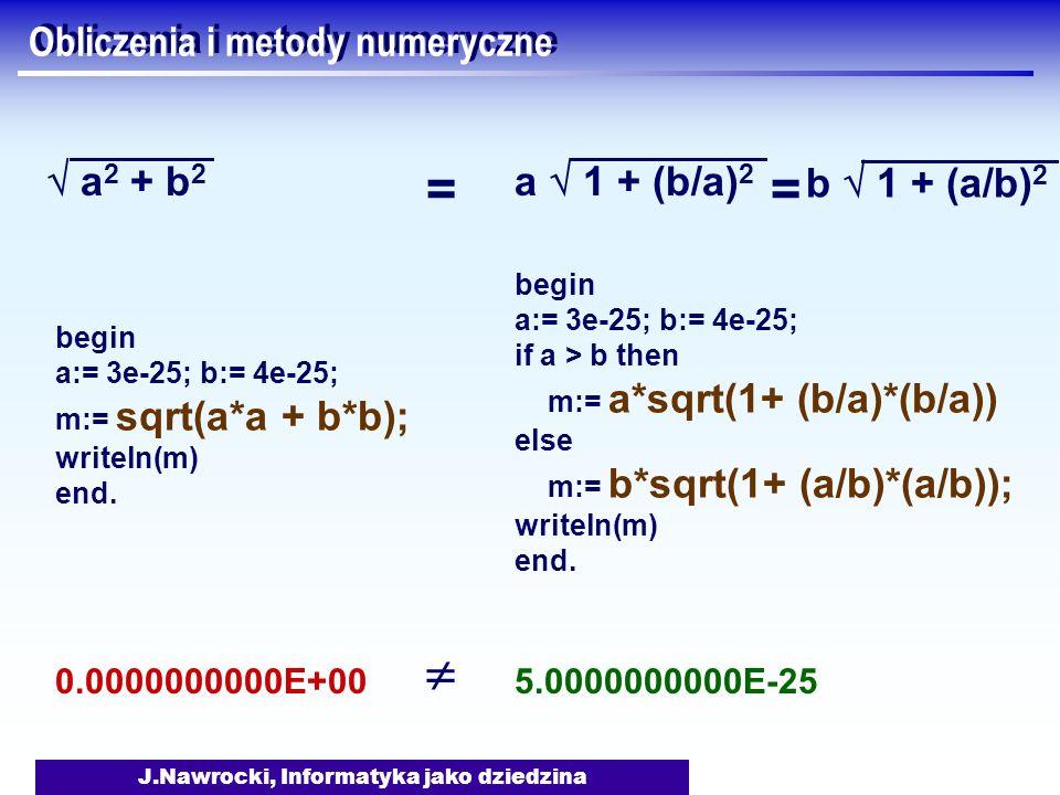 J.Nawrocki, Informatyka jako dziedzina Obliczenia i metody numeryczne a 2 + b 2 a 1 + (b/a) 2 begin a:= 3e-25; b:= 4e-25; m:= sqrt(a*a + b*b); writeln