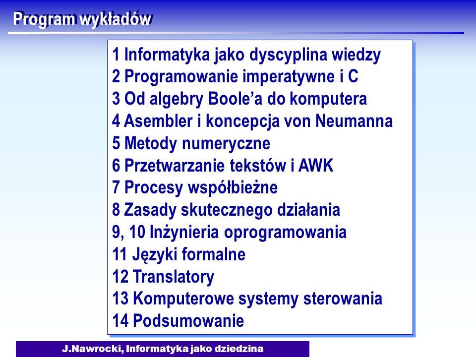 J.Nawrocki, Informatyka jako dziedzina Program wykładów 1 Informatyka jako dyscyplina wiedzy 2 Programowanie imperatywne i C 3 Od algebry Boolea do ko