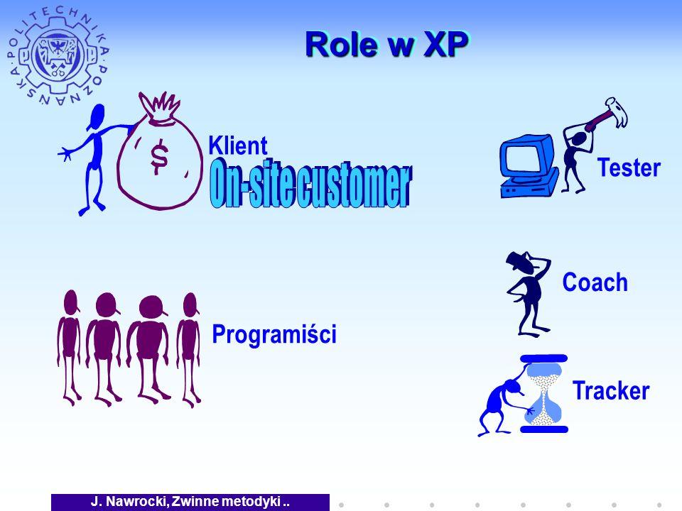 J. Nawrocki, Zwinne metodyki.. Role w XP Klient Coach Tracker Tester Programiści