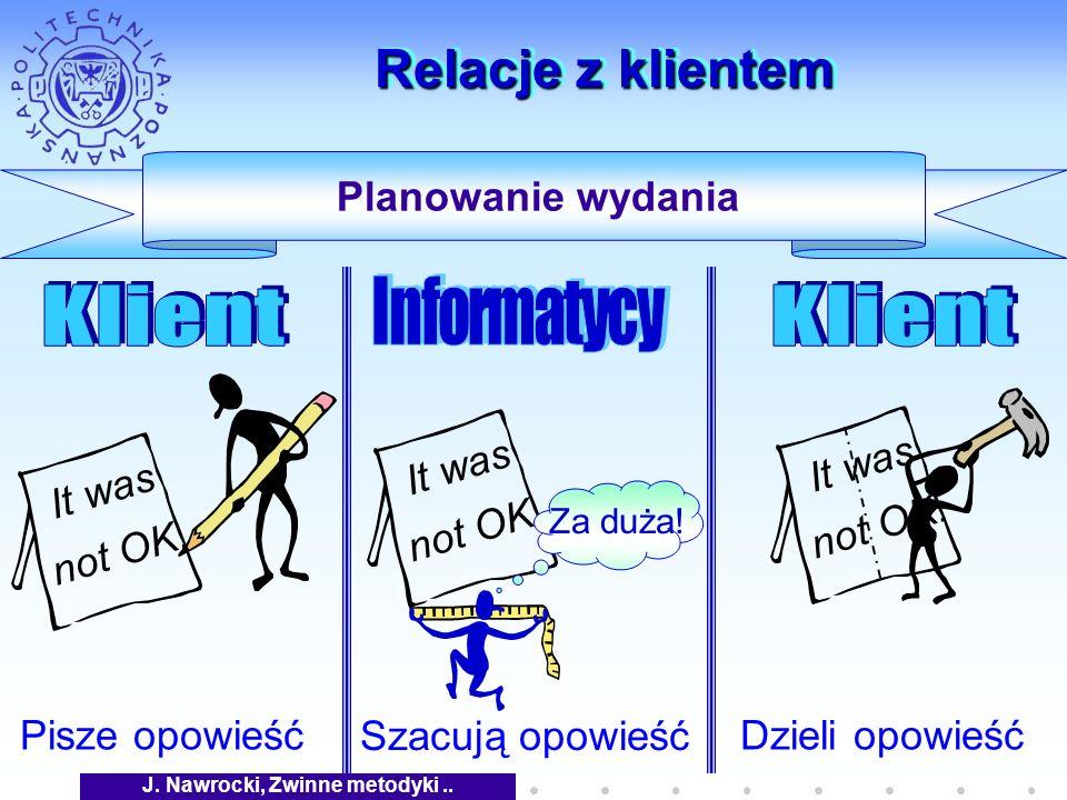 J. Nawrocki, Zwinne metodyki.. Relacje z klientem Planowanie wydania Pisze opowieść It was not OK.