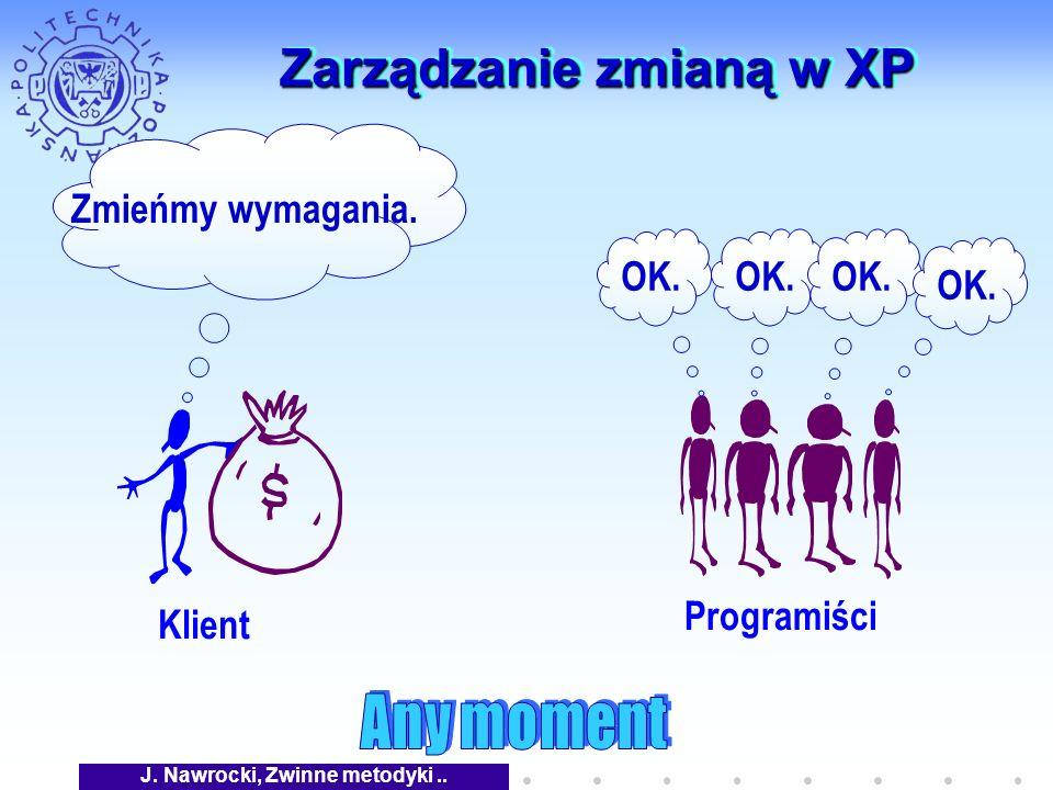 J. Nawrocki, Zwinne metodyki.. Zarządzanie zmianą w XP Klient Zmieńmy wymagania. Programiści OK.