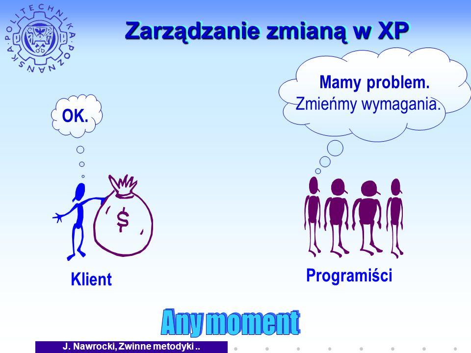 J. Nawrocki, Zwinne metodyki.. Zarządzanie zmianą w XP Klient Programiści Mamy problem.