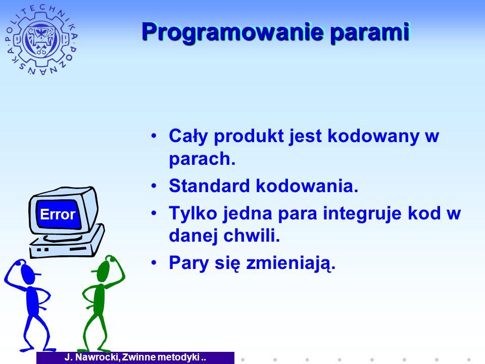 J. Nawrocki, Zwinne metodyki.. Programowanie parami Cały produkt jest kodowany w parach.