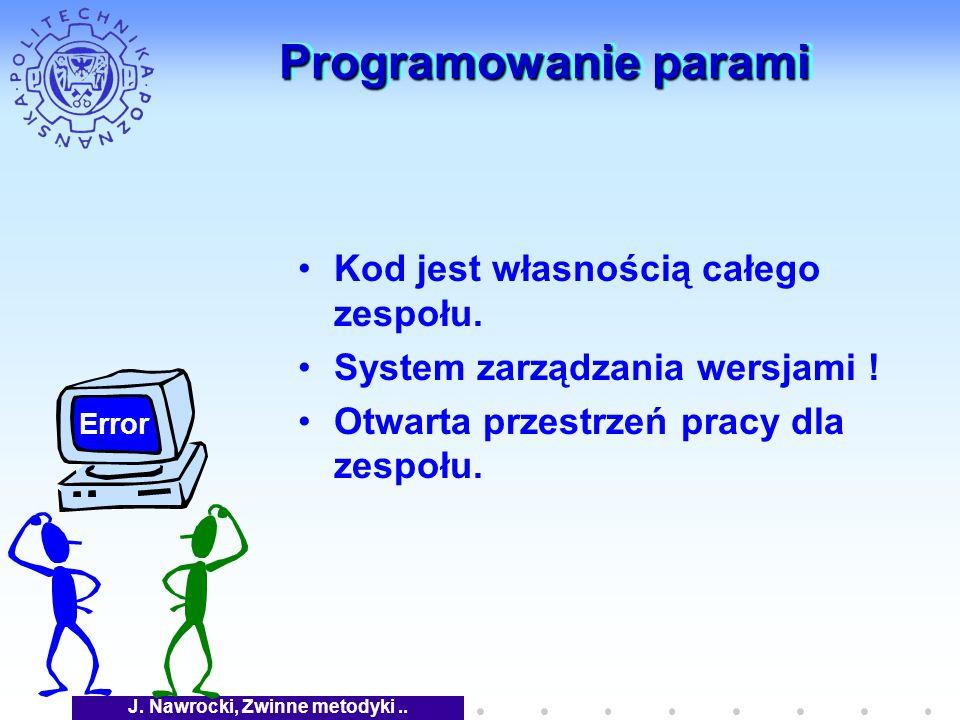 J. Nawrocki, Zwinne metodyki.. Programowanie parami Kod jest własnością całego zespołu.