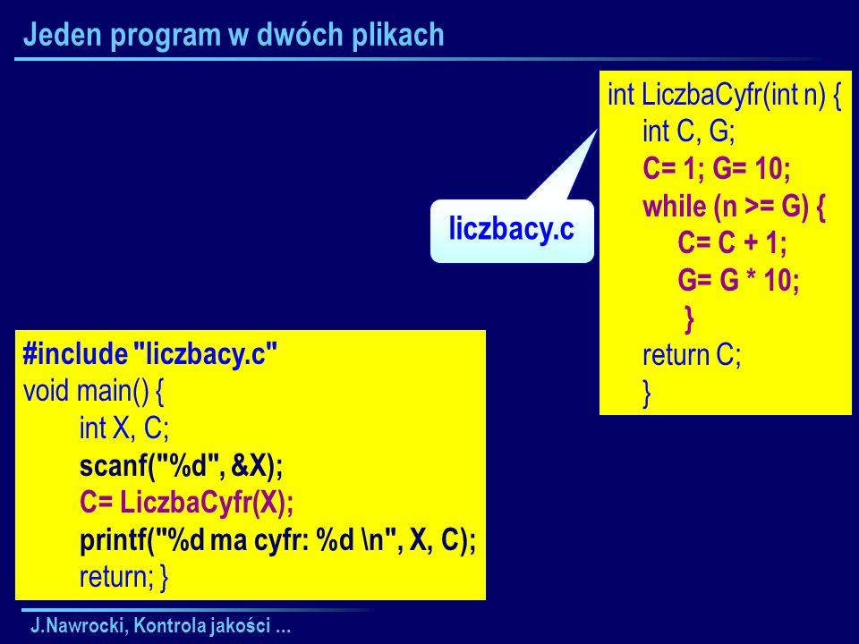 J.Nawrocki, Kontrola jakości... Jeden program w dwóch plikach #include