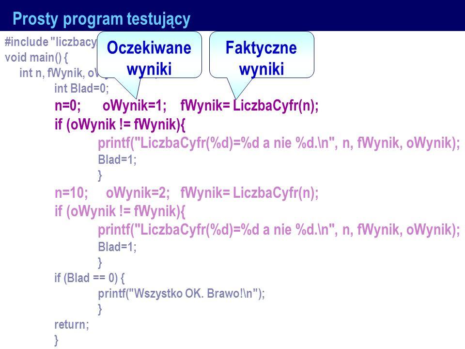 J.Nawrocki, Kontrola jakości... Prosty program testujący #include