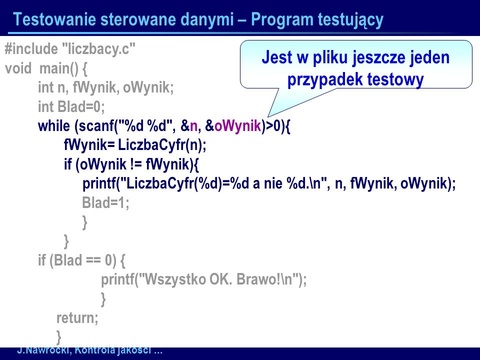 J.Nawrocki, Kontrola jakości... Testowanie sterowane danymi – Program testujący #include