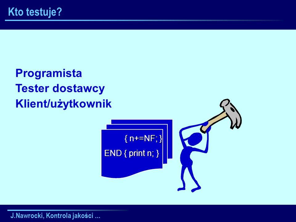 J.Nawrocki, Kontrola jakości... Kto testuje? { n+=NF; } { n+=NF; } END { print n; } Programista Tester dostawcy Klient/użytkownik